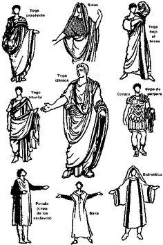 DIFERENTES VESTIDOS DE LA ANTIGUA ROMA