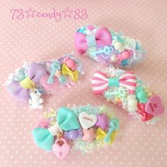 Pastel patch Diy Ribbon, Ribbon Bows, Diy Hair Accessories, Handmade Accessories, Cute Polymer Clay, Diy Hair Bows, Boutique Bows, Hair Ornaments, Flowers In Hair