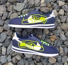 b4e400cd0fff6 Bandana Fever Lime Seattle Seahawks Big Print Custom Navy White Nike Cortez  Shoes