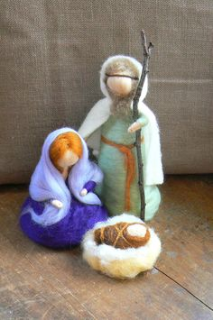 Holy Family,Nativity Scene, Baby Jesus, Mary and Joseph,Needle Felted-Waldorf-Nature Table-Seasonal- READY TO SHIP,reduced shipping cost. $65.00, via Etsy.