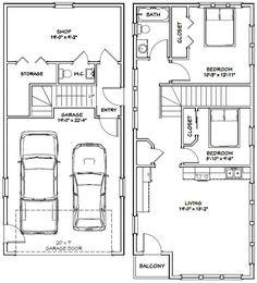 Garage Apartment 2 Bedroom house plan no 149.3 Living