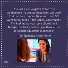 """4 things your school psychologist wishes you knew about sped referrals… """"School psychologists aren't the gatekeepers to special education. We want to do so much more than just test. Think of us as your consultants and thought partners. Special Education Activities, Special Education Classroom, Teacher Resources, Classroom Routines, Classroom Procedures, Behavior Management Strategies, Teacher Inspiration, School Community, Student Motivation"""