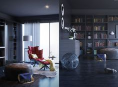 Amazing and Cozy For Reading Spaces: Large Black Libabry Shelf With Gray Light Fur Rug ~ Verticallaunch