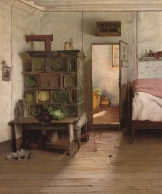 Painting: CARL FLEISCHMANN,  A Saucer of Milk  How brilliant is the bed with the cabbage and stove and smart. Silly one purpose rooms...