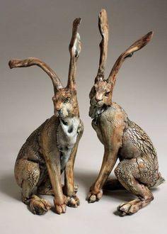 Annie Peaker contemporary figurative ceramics - I adore these. Pottery Animals, Ceramic Animals, Clay Animals, Pottery Sculpture, Sculpture Clay, Rabbit Sculpture, Sculptures Céramiques, Ceramic Sculptures, Rabbit Art
