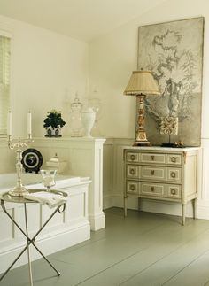 Modern Bath White Raised Panel Tub Gl Canisters Painted Commode Gilded