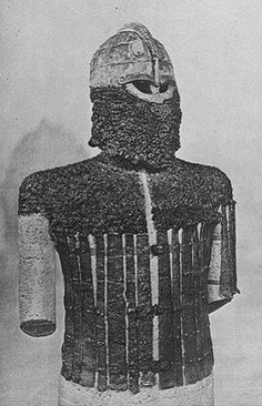 Helm and armour (disproved initial reconstruction) from Valsgärde 8. The splints are from greaves, here reconstructed incorrectly as torso armour.