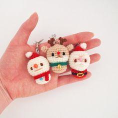 Crochet Santa Snowman Rudolph Christmas Keychain by isoDreams