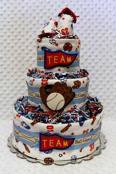 Baby Diaper Cake Baseball Boys Shower Gift by Diannasdiapercakes, $57.99