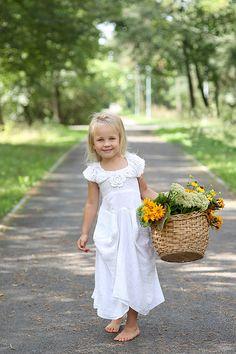 Linen dress/white linen dress/ christening/photo by Renatadress, $89.00