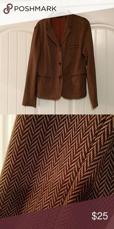 Brown blazer Stretchy fabric with herringbone design. Very dressy but very comfortable! New York & Company Jackets & Coats Blazers