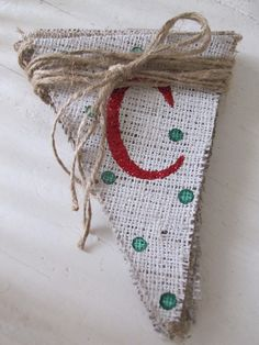 Christmas Glittered Painted Polka Dotted Burlap Banner from FunkyShique on #Etsy