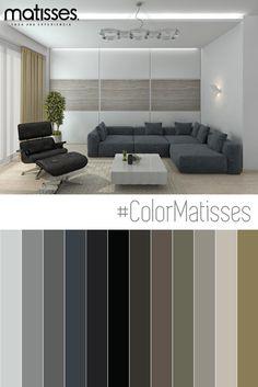 Un living moderno decorado con una paleta de color basada - Colores que combinan ...