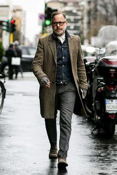 denim under tailored coat