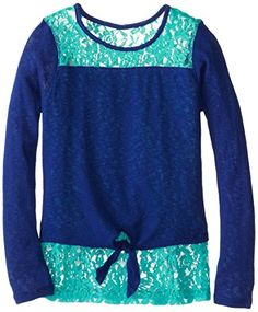 Derek Heart Big Girls' Tie Front Shirt with Hangdown, Blue/Malibu Green, Small/7/8 Derek Heart http://www.amazon.com/dp/B00MOTAUUK/ref=cm_sw_r_pi_dp_DbWNub0VR79ZH