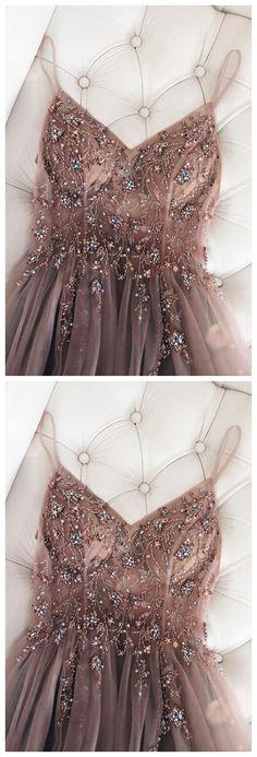 beadede long prom dress with spaghetti straps by olesaweddingdresses, $131.30 USD Classy Prom Dresses, A Line Prom Dresses, Beautiful Prom Dresses, Tulle Prom Dress, Prom Party Dresses, Simple Dresses, Homecoming Dresses, Sexy Dresses, Evening Dresses