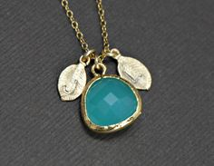 Initial Gold Necklace Personalized Aqua Blue by SilverLotusDesigns, $32.00