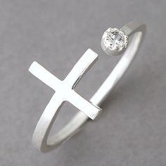 CZ Horizontal Side Cross Ring Wrap Sterling Silver