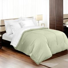 MADE IN THE USA 310TC 100% Cotton Medici Dobby Stripe Down Alternative Comforter, Full/Queen, Sage By Veratex