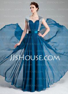 A-Line/Princess Sweetheart Floor-Length Chiffon Charmeuse Sequined Prom Dress With Ruffle (018019736) - JJsHouse