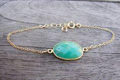 Chrysoprase Gold Bracelet on Etsy, $28.00