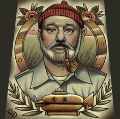 Got an Etsy gift card for xmas and finally ordered this Steve Zissou Tattoo Art Print by ParlorTattooPrints I've been wanting!