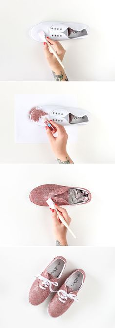 DIY Glitter Shoes from The Crafted Life tenis moda brilhante materiais: purpurina e cola. Bling Shoes, Glitter Shoes, Glitter Hair, Glitter Eyeshadow, Pink Glitter, Diy Glitter Sneakers, Glitter Slime, Glitter Force, Shoe Crafts