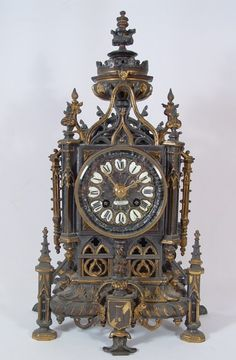 Libert Gothic Cathedral Clock (French, 19th Century)