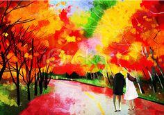 iclickart- Autumn illust 아이클릭아트- #가을배경 #일러스트 중... 붉은 #단풍과 노란 #은행 이 섞인 산책길에 함께~