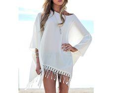 White Fringe Beach by knitfashionable