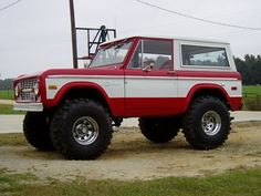 red and white bronco