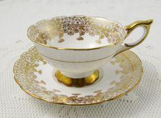 Royal Stafford Gold Regent Tea Cup and Saucer, Vintage Bone China
