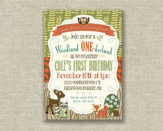 Woodland 1st First Birthday Boy Invitation Fall by girlsatplay, $12.00