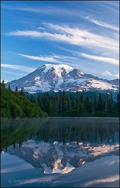 Mount Rainier at sunrise from Ben Lake; Mount Rainier National Park, Washington; photo by Greg Vaughn