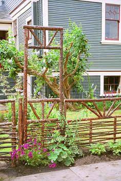 Rustic fence and gate on Niagara want this in my yard. It would be nice for an gate in my orchard Garden Gates And Fencing, Garden Doors, Outdoor Projects, Garden Projects, Garden Art, Garden Design, Pergola, Rustic Fence, Garden Trellis
