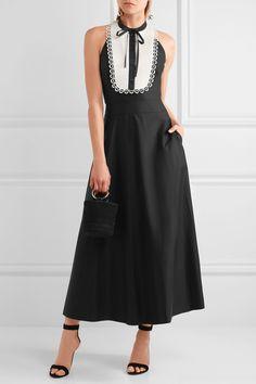 Temperley London | Fountain lace-trimmed cotton-poplin midi dress | NET-A-PORTER.COM