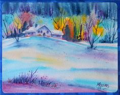 Watercolor on Canvas Winter Snow Cabin by by MarthaKislingArt