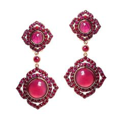 Vanessa Kandiyoti ~ Rose gold earrings with cabochon rubies and pavé rubies