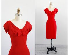 r e s e r v e d - 1950s wiggle dress / 50s red dress / Red Silk Chiffon Mad Men Wiggle Dress with Bow