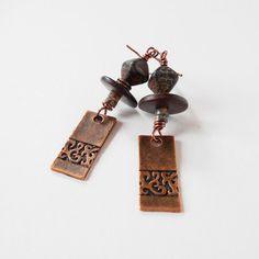 rustic drop earrings bead drop earrings tribal by jcudesigns