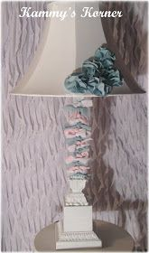Kammy's Korner: Lamp Redo With Paint And Fabric Scraps Lamp Redo, Lampshade Redo, Lamp Makeover, Lampshades, Painted Lampshade, Shabby Chic Floor Lamp, Painting Lamp Shades, Painting Trim, Diy Crafts Hacks