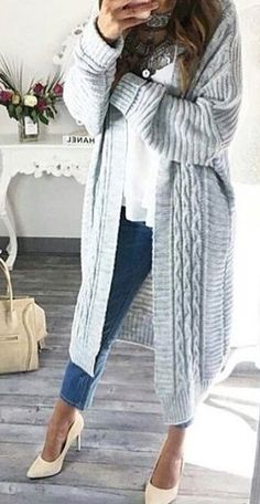 #fall #outfits · Grey Wool Trench // White Sheer Blouse // Cream Pumps // Skinny Jeans