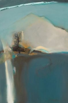 """River of Hope-Abstract Landscape by Joan Fullerton Mixed Media ~ 30"""" x 20"""""""