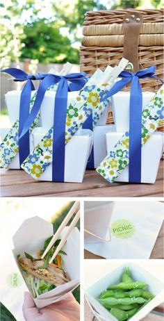 Cute styled picnic lunches - must try these patterned chopstick sleeves soon #chopsticks #picnic #funwithpaper