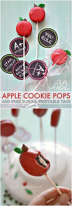 Back To School - Cookie Apple Pops Back to School - Apple Oreo Pops Recipe and Free Printables at . Cute idea for an apple themed party. Or fall desserts table. Teacher Retirement Parties, Teacher Party, Teacher Treats, School Treats, School Gifts, Teacher Gifts, Teacher Cupcakes, Teacher Presents, Teachers Day Gifts