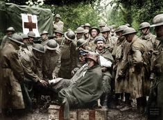 A group of wounded German Army prisoners receiving medical attention at first aid station of U. and Ambulance Companies. The Battle of Saint Mihiel, 12 September 1918 Wilhelm Ii, Kaiser Wilhelm, Ww1 Photos, Colorized Photos, World War One, First World, Strange History, American Soldiers, German Army