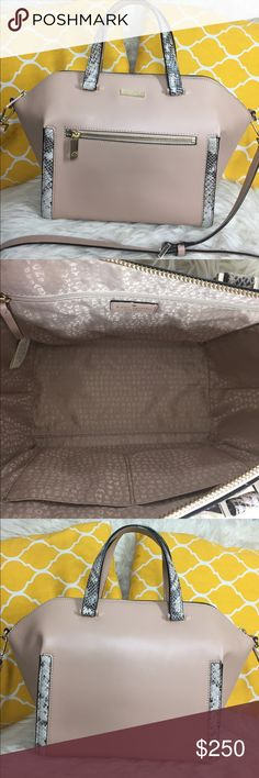 """🌸OFFERS?🌸Kate Spade All Leather Two Tone Satchel 🌷Authentic🌷Excellent shape. Minimal sign of use. Features top handle, removable/adjustable strap, zip top to close, 3 pockets inside, front zip pocket and metal feet for protection. It's a roomy purse great for work/school/travel/mommy bag or everyday purse. Carry it by hand/arm, shoulder or crossbody. Such a stylish color! Don't be shy to make an offer💕Dimensions: L15"""" H10"""" Bottom Width6"""" Handle Drop4.5"""" +removable strap ✨Feel free to…"""