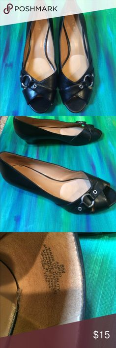Low wedge Low wedge, worn a few times, fits true to size, extra padding in ball of foot Nine West Shoes Wedges