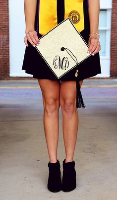 Monogram sparkle graduation cap. Graduation announcements pictures