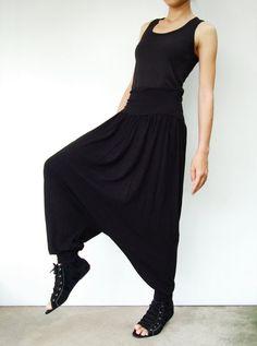 NO74    Black Cotton Rayon  Harem Yoga Pants by JoozieCotton, $43.00